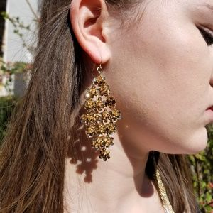 Cascading Flower Dangle Earrings (3.5in)